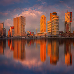 Waterfront Rotterdam at sunset by Rémon Lourier - City,  Street & Park  Skylines