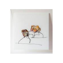 Photo: Trois personnes, sérigraphie originale sur verre, 42 x 44,6 cm, 2009 tirage en 12 exemplaires numérotés et signés. © Nadja Cohen