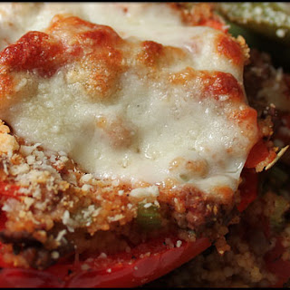 Stuffed Bell Peppers with Ground Turkey and a Ragu