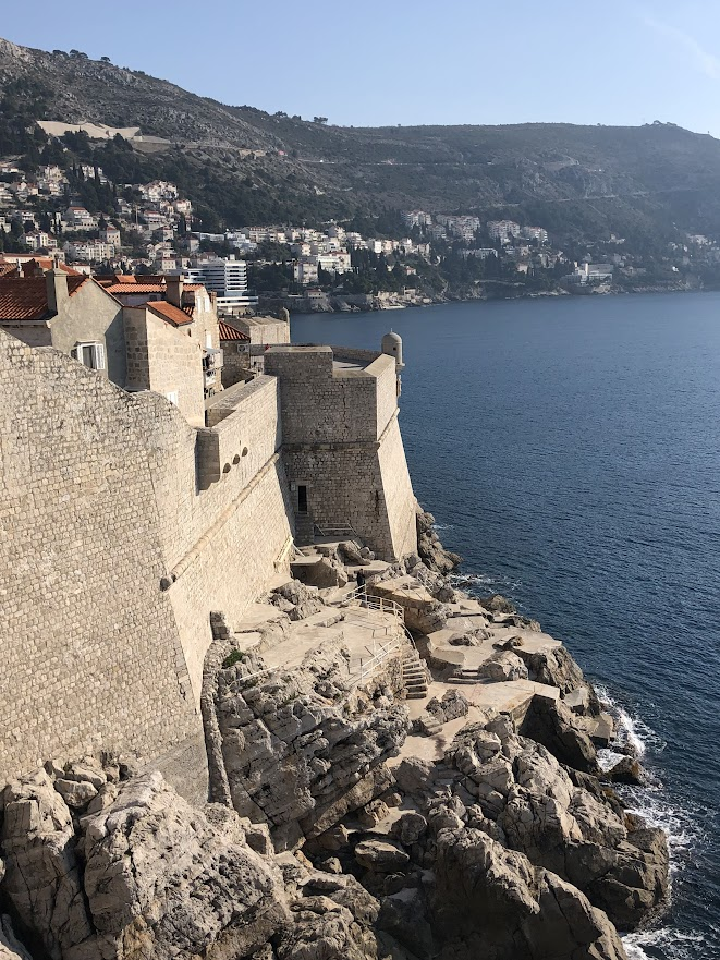 Dubrovnik city walls into water