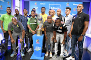 Players from different PSL teams  pose with   the Telkom Knockout trophy during the launch of this year's edition   in Randburg yesterday. The competition kicks off next weekend. / Lefty Shivambu/Gallo Images
