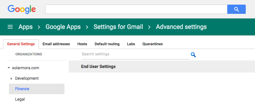 Admin console - Advanced Gmail settings - organizations