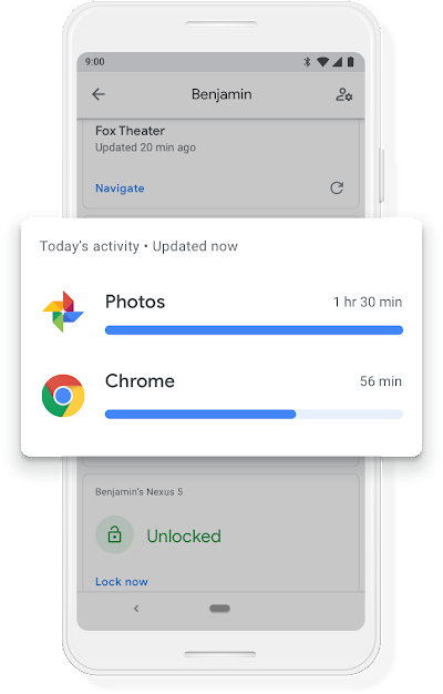 A Google phone screen showing 48 minutes of Duo usage and 40 minutes of Chrome usage for that day.