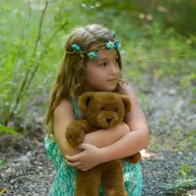 Brooklyn by Marie Burns - Babies & Children Child Portraits ( bear, girl, turquoise, innocent, flowers )