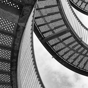 Winding Stairs by Wim De Koster - Black & White Buildings & Architecture ( abstract, stairs, black and white, staircase, belgium, dessel )
