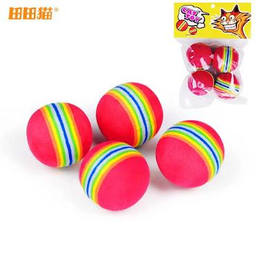 田田貓 彩色彈性小球 貓玩具 4ps