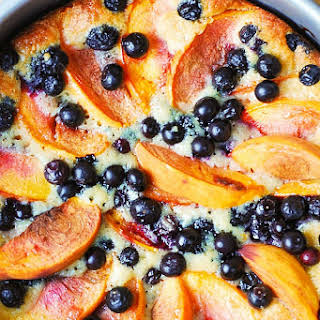 Peach and Blueberry Greek Yogurt Cake.