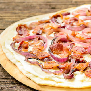 Grilled Bacon Onion Cheese Flatbread (Flammkuchen).