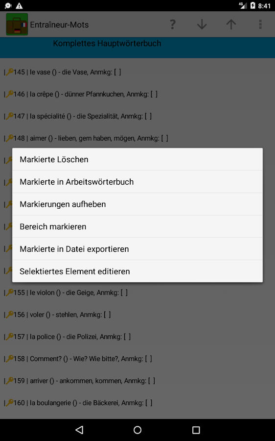 Bon Courage! Wortschatzcoach- screenshot