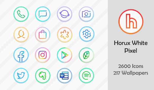 Horux White – Round Icon Pack (MOD, Paid) v2.2 1