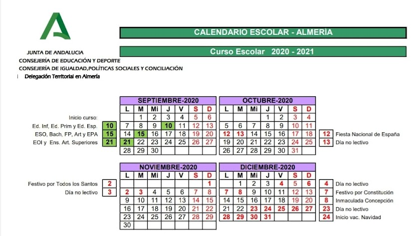 Calendario Escolar en Almería Curso 2020-2021.