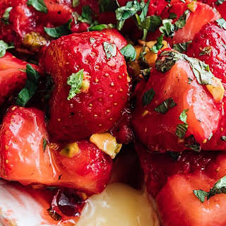 Baked Brie Recipe with Roasted Strawberries.