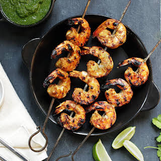 Grilled Coconut-Curry Shrimp Skewers with Cilantro Chutney.