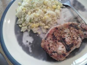 Easy Quinoa casserole and grilled pork chops