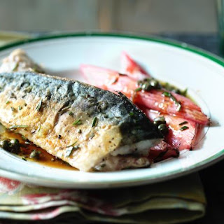 Fresh Mackerel With Roasted Rhubarb.