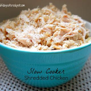 Recipe for Basic Shredded Chicken in the Slow Cooker (crockpot).