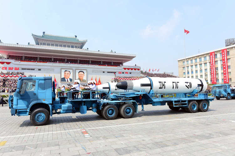 Military vehicles on parade in North Korea. The North is angry that military drills its southern neighbour has scheduled with the US will go ahead. Picture: REUTERS
