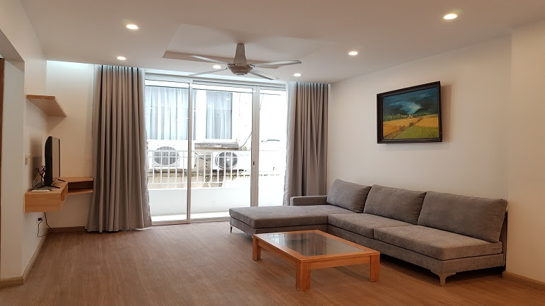Bright 2 – bedroom apartment with balcony in Xom Chua street, Tay Ho district for rent