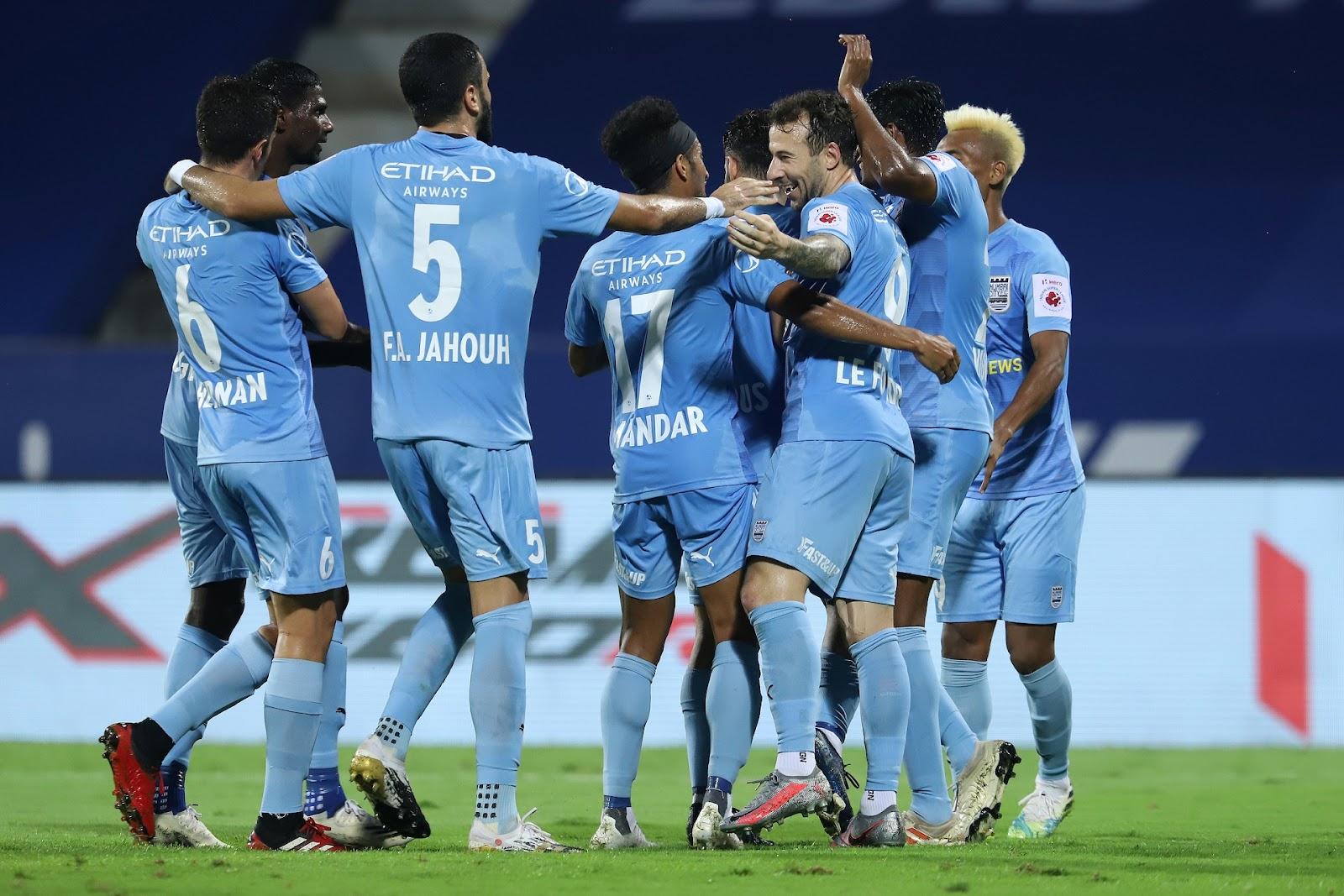 Mumbai City FC players celebrating a goal earlier this season