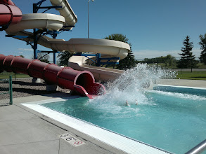 Photo: Next, the kids swam at the aquatic center which was across the street from the amusement park.