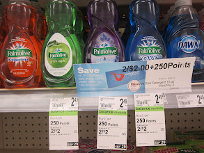 Photo: Signage on the shelves, like the tags shown here, help you figure out how many points you get with your purchase.