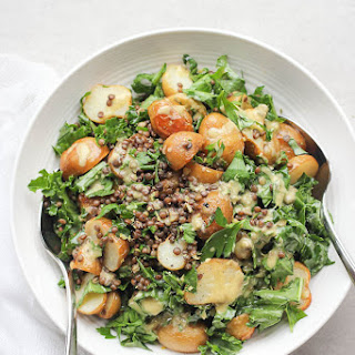 Roasted New Potato, Lentil + Kale Salad with Lemon Caper Dressing.