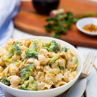 Cashew Alfredo Pasta with Broccoli.