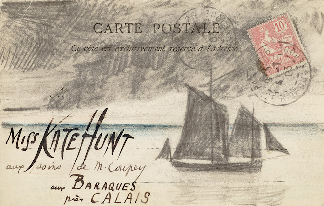 <p> <strong>L&eacute;on Coupey<br /> To Miss Kate Hunt (Baraques)</strong><br /> Ink, graphite &amp; crayon on card<br /> 3 &frac12;&quot; x 5 &frac12;&quot;&nbsp;<br /> 1903</p> <p> Collection Chantal Coupey, Toronto<br /> Set 4.4&nbsp;</p>