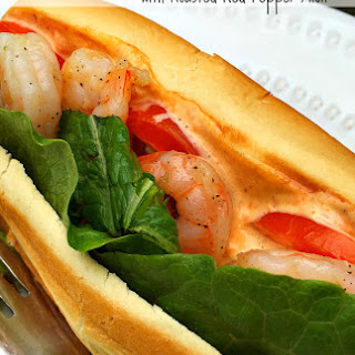 Shrimp Po' Boy Sandwich with Roasted Red Pepper Aioli