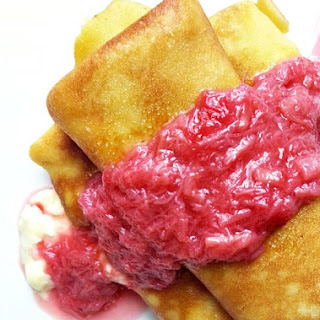 Cheese Blintzes With Rhubard Compote
