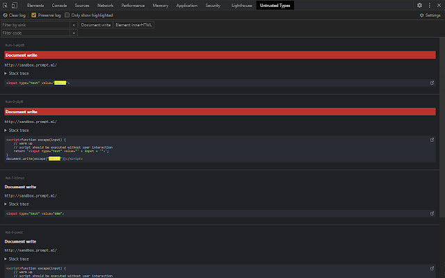 Untrusted Types for DevTools