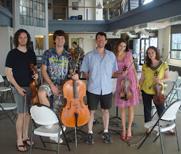 Photo: afternoon rehearsal with Voxare Quartet at ICMC SUNY Stony Brook