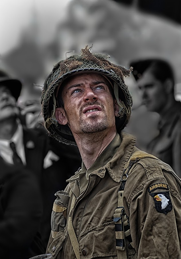 Wishing he was Airborne by Colin Dixon - People Portraits of Men ( soldier, 1940's, peeple, airborne, war, people. portrait )