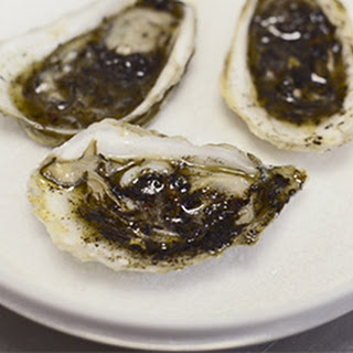 Broiled Oysters with Scallion Ash Butter