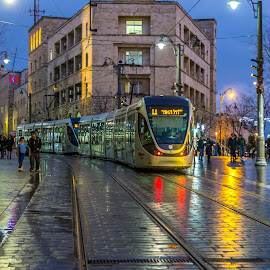 by Yakov Zak - City,  Street & Park  Night ( jerusalem )