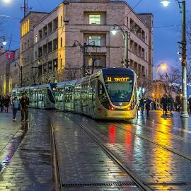 by Yakov Zak - City,  Street & Park  Night ( jerusalem )