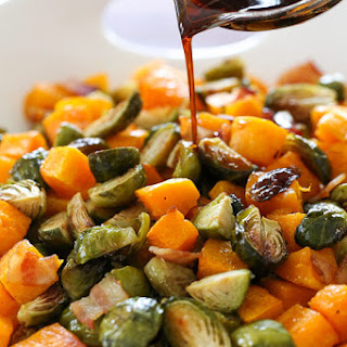Roasted Brussels Sprouts, Butternut Squash and Bacon with Maple Soy Glaze.