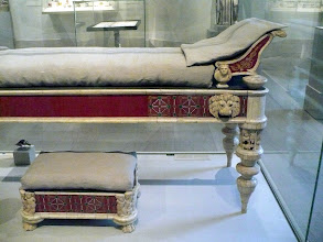 Photo: Couch and footstool with bone carvings and glass inlays.  Imperial, 1st to 2d century A.D. Roman. Wood, bone, ivory, glass. Gift of J. Pierpont Morgan, 1917.  http://www.metmuseum.org/Collections/search-the-collections/130009712