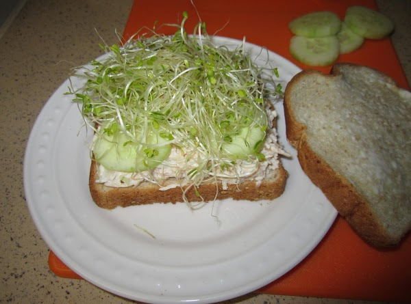 Then add the alfalfa sprouts on top of the cucumbers. Add as much as...