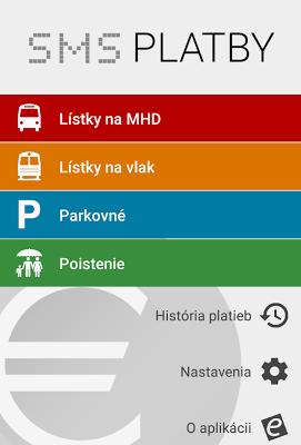 SMS platby - MHD, parkovne - screenshot