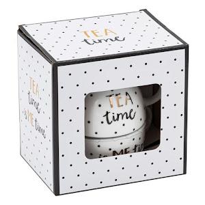 Set Dots Tea Time, ceainic cu farfurioara si capac, din portelan
