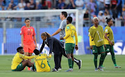Desiree Ellis, Head Coach of South Africa consoles her players following their defeat in the 2019 FIFA Women's World Cup France group B match between South Africa and Germany at Stade de la Mosson on June 17, 2019 in Montpellier, France.
