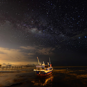 Boat under the Milkyway by Adrian Choo - Landscapes Starscapes ( milkyway, stars, night, beach, glow, boat )