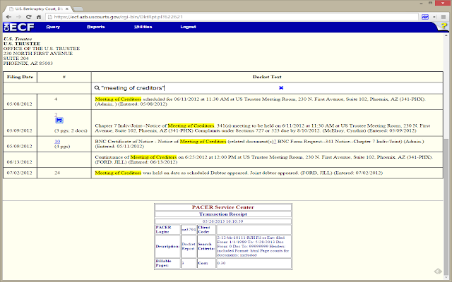 QuickPacer Bankruptcy Docket Extension