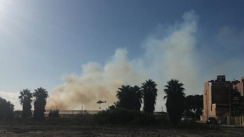 Zona afectada en La Cañada por el incendio.
