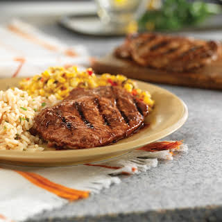 Grilled Ribeye Chops with Mole Sauce.