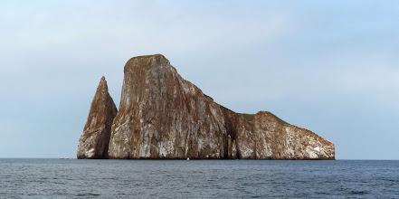 Photo: Kicker Rock or Leon Dormido (Sleeping Lion).  Look how tiny the boats are beneath it.