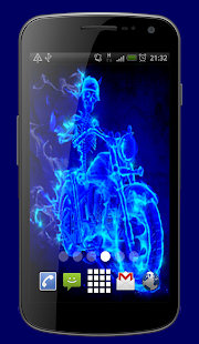 Neon Skeleton Rider Live Wallpaper Theme - náhled