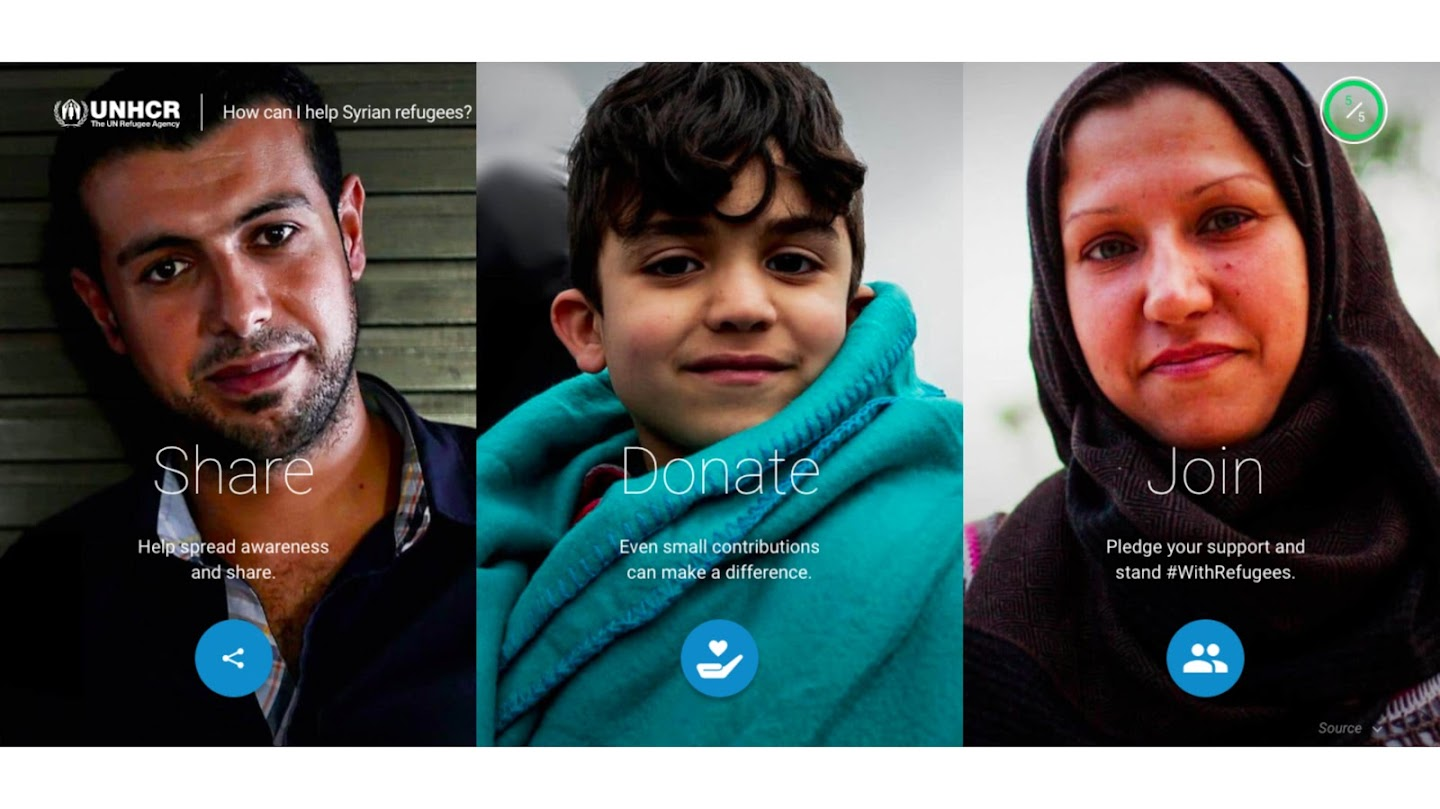 Images of Syrian man, child and woman with call to actions to share, donate and pledge support