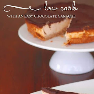Low Carb Baked Cheesecake with Chocolate Ganache.